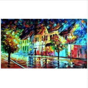 Pinturas artesanais Abstrato Faca Streetscape Pictures Home Decor Wall Art Pintados À Mão Noite Paisagem Pintura A Óleo sobre Tela