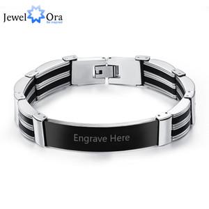 Силиконовые титана стали персонализированные выгравировать браслеты для мужчин пользовательские 205 мм BraceletsBangles лучший человек подарки (JewelOra BA101449)