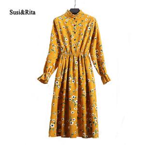 SusiRita Vintage Floral Print Automne Robe Femmes 2018 À Manches Longues Robe De Soirée Élégante Dames D'hiver Robes Robe Robe