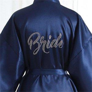 Summer Sleepwear Rayon Donna Kimono Accappatoio Strass Sposa Damigella d'onore Abito Robe Abito da notte solido Camicia da notte