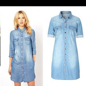 Venta al por mayor envío gratis mujeres medio manga de algodón puro informal breve delgado mini jeans vestidos largos de camisa