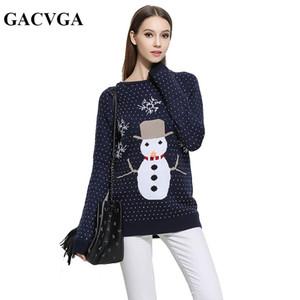 GACVGA Marque De Noël Pull Pull Tricoté Jumper O-Cou Outwear Femmes Chandails Et Pulls Automne Hiver Pull Femme