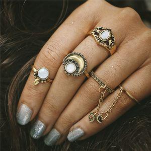Neue Boho Knuckle Ringe Für Frauen Mädchen Vintage Silber Gold 5 Teile / satz Midi Fingerringe Sets Opal Ring Schmuck Party Geschenke HZ