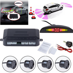 Auto LED Parking Sensor Assistance Backup Reverse Backup Radar Sistema del monitor del sistema di retroilluminazione + 4 Sensori Auto Alarm Security GGA265