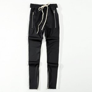 2018 New Bottoms lado de los pantalones cremallera hip hop moda FOG ropa urbana Junto a los pantalones juntos basculador azul rojo Negro