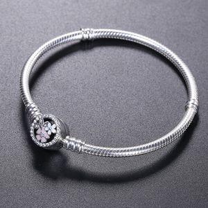 Braccialetto in argento sterling 925 BRACCIALE fiore fiore smalto Chiusura per bracciale di gioielli Pandora Bracciale originale bracciali da donna