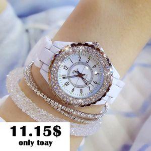 Alta qualidade top marca de luxo mulheres relógio de cerâmica branca de diamante das mulheres das senhoras relógio de quartzo moda 2018 mulheres relógios de pulso BS C18111301