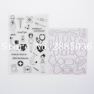CS1164 Doctor Set clear stamp + dies cutting