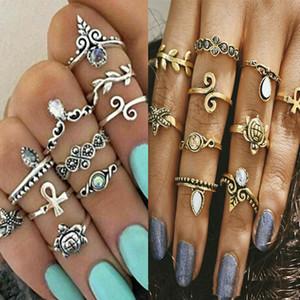 10 pçs / set cor de ouro flor midi anéis conjuntos para as mulheres de cor prata boho beach dedo elefante turco do vintage junta anel de jóias