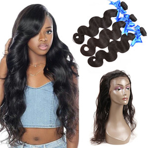 Бразильские человеческие волосы 3 пачки с 360 полного шнурком с фронтальными волосами младенец Дешевой Объемной волны волос Remy Weave с кружевом фронтального Закрытием