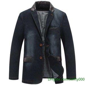 New Fashion Denim Blazer Uomo Business Casual Suit Blazer Giacca Jeans Cappotto Office Party Militare Vintage Blazer Cotone OUTWEAR