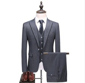(Chaqueta + Chaleco + Pantalones) 2018 traje de primavera Costumes pour hommes Gris solo botón Trajes de hombre Trajes clásicos Traje de bodas para hombres de negocios
