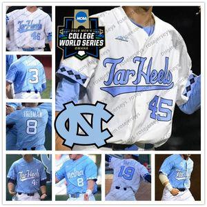 Saltos de alcatrão da Carolina do Norte UNC # 1 Danny Serretti 5 Ashton McGee 8 Ike Freeman 26 Jackson Hesterlee 2019 Camisolas de CWS Baseball White Blue