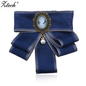 ZTECH Moda Ilmek Şerit Simüle-İnci Kolye Vintage Broşlar Kadınlar için Bildirimi Takı Kravat Yaka Pins Büyük Broş