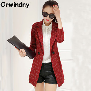 Orwindny Spring Blazer da donna 2017 New Fashion Plaid Long Blazer femminili Single Button Abbigliamento Capispalla S-XXL Suit Coat
