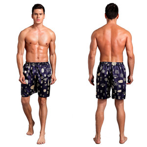Short en satin de soie décontracté pour hommes Shorty Summer Summer Vêtements de nuit à séchage rapide Soft Boxer Underwear Pyjama Print Underwear Slip