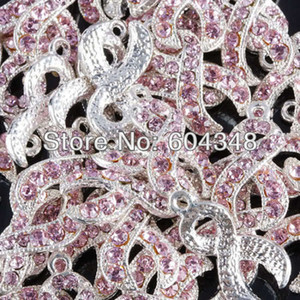 100pcs Silver color Pink Crystal Rhinestone Ribbon Breast Cancer AWARENESS Charms Dangle  Pendant Jewelry Findings
