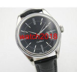 De lujo del reloj automático para hombre Cellini fecha mecánica sin uso 50515 Piel dual Relojes Time reloj de los hombres Cinturón Negro de alta calidad.