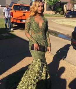 2020 Desinger sirène Robes de bal à manches longues robes de soirée verte africaine 3D Froal fleur V-cou vestidos de novia Parti Robes
