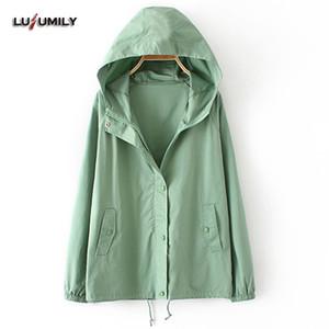 Lusumily lässige Windbreaker Jacken Frauen mit Kapuze plus Größe 3xl weibliche Mantel formale Jacken Damen Windbreaker Mantel Oberbekleidung