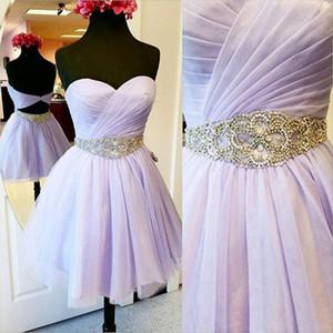 Más reciente Sweetheart Neck Tulle Homecoming Vestidos Mini Short Beaded 8th Grade Graduation Party Dresses Sweet 16 Dresses Envío rápido gratuito