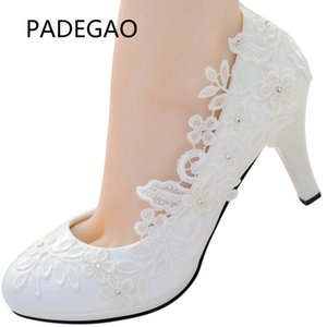 Handmake Prinzessin Party Pearl White Lace Blume Floral Brautschuhe Pumps Schuhe Brautjungfer Schuhe High Heels