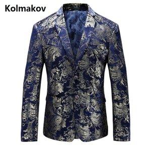 KOLMAKOV 2017 otoño trajes de los hombres casuales clásicos blazers azules, hombres chaqueta de negocios, vestido de boda bordado blazers hombres