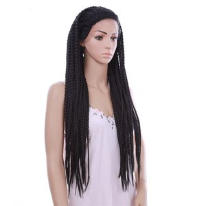 30inch Long Straight Wigs Crochet Braided Box Braids Synthetic Lace Front Wigs Bob Hairstyle American Afro Box Braiding Wigs For Women