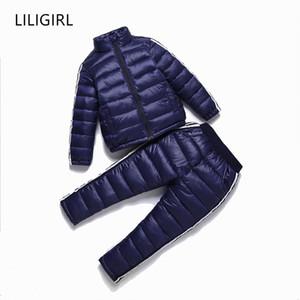 LILIGIRL Дети вниз Хлопок Спортивная одежда Комплект для мальчиков девочек Зимние куртки Вниз + брюки комбинезоны костюм 2018 New Baby детский зимний комбинезон Y18102508