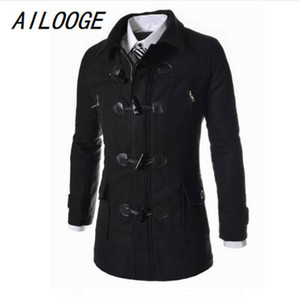 AILOOGE Winter High Quality Men's Woolen Horn button Coats Casual Overcoat Fashion Wool coat men Windbreaker jacket Peacoat