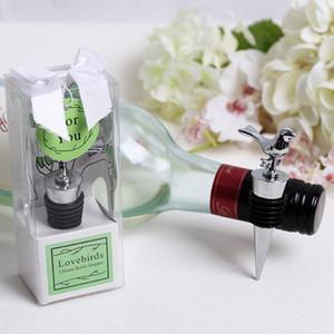 Pájaros del amor Chrome Bottle Stopper Wine Favores de la boda envío gratis 100 unids / lote