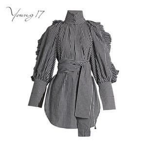Young17 Ruffles Manga Comprida Camisa Xadrez Preto Blusa Mulheres Camisas Outono Escritório Cinto Largo Bainha Assimétrica Stand Top de Gola Alta