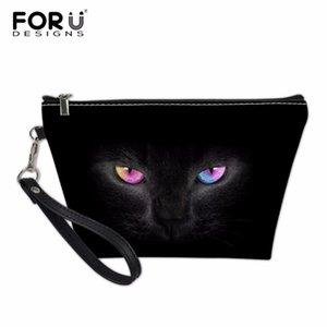 Vente en gros 3D Black Cat Impression Femmes Make Up Cas Marque De Mode Titulaire Du Voyage Maquillage Sacs Sacs À Cosmétiques Sacs De Rangement Pochette
