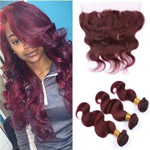 # 99J Vino rojo Malasio Body Wave Paquete de cabello humano con 3 piezas con frontales 4pcs / Lot Borgoña 13x4 Cierre frontal de encaje completo con tejidos