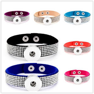 Noosa diamante rhinestone snaps jewelry shiny pu leather18mm snap buttons bracelet for women snap button jewelry