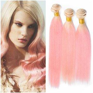 # 613/розовый Ombre Virgin бразильский человеческих волос расслоение сделок 3шт шелковистой прямой блондинка и розовый двухцветный Ombre человеческих волос ткать пучки
