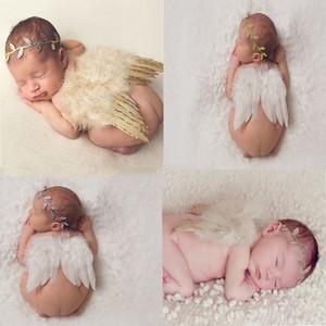 Baby Angel Ala + chiffon Foglia fascia Fotografia Props Set neonato Belle piume bianche di angelo Costume da fata Foto fascia