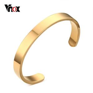 """Venda inteiraVnox Mens Cuff Bangle Pulseira de Ouro-cor de Alta Qualidade Em Aço Inoxidável Simples Pulseiras Pulseiras Jóias 2.5 """"Dia"""