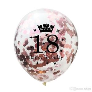 Happy Birthday Party Confetti Balloon Golden Crown Rose Palloncini gonfiabili Compleanni Decorazioni Feste Bomboniere Giocattoli per bambini 0 85cm ii