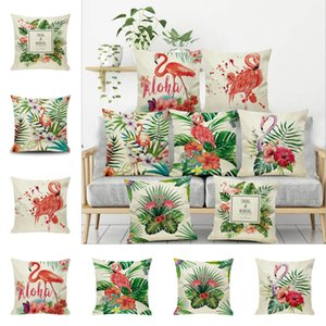 7 Stlye Cartoon Flamingo Style Pillow Case Colorful Birds Leaf Pillow Cover Cute Animal Printing Cushion Cover Kids Gift YC2487A