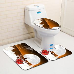 صديق للبيئة تغطية مقعد المرحاض عيد الميلاد حمام مجموعة المضادة للانزلاق وحمام ماتس قابل للغسل المرحاض تغطية غطاء اكسسوارات الحمام مرحاض غطاء المرحاض
