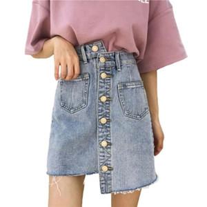 Однобортный нерегулярные джинсовая юбка Harajuku джинсы опрятный карман мини Bodycon Rokjes дамы корейский ulzzang колледж женщин юбки