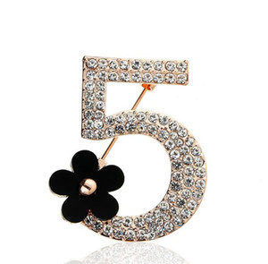 Novíssimo Broches Carta 5 Full cristal Rhinestone broche Mulheres Party For Flower Number Five Broches Jóias