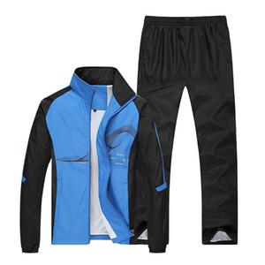 2018 Ensembles Courir Automne Printemps Homme Sport Costumes de sport Fitness Training Set Polyester chaud Survêtement Zip Costume Pocket Jogging