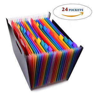 24 Pockets Expanding Files Folder Organizer Portable Business File Organizer Box Storage Bag A4 Business File Folder Bag