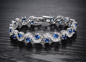 2020 Blue Crystal Bracelet For Wedding Silver Bracelet Rhinestone Charm Women Bangles Jewelry Pulseira Feminina BR520