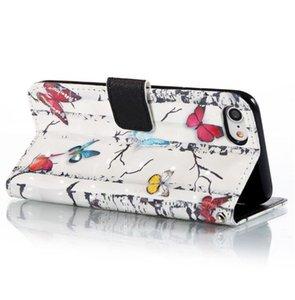 Para el caso del iPhone 8, para el caso del iPhone 7, caja protectora del tirón de la cartera del cuero de la PU con las ranuras para tarjeta y la correa de muñeca para el iPhone 87