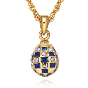 Mini Size women's Enamel Handmade Jewelry Brass Faberge Egg Pendant TF Charms Crystal Rhinestone Necklace Gift To Women