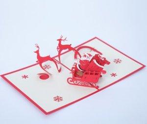 Cartes 3D tridimensionnelles de Noël à la main en papier découpant des cartes-cadeaux personnalisées d'anniversaire volant de voiture de cerf de Noël