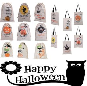 Хэллоуин сумки для вечеринок Canvas Candy Bags 36 * 44см 15 стилей Drawstring мешок подарков Холст Санта Sack Материал Мешки Tote Сумки для Хэллоуина